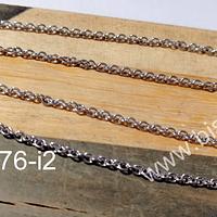 Collar de acero, eslabón de 2x1.8 mm, collar con cierre, 45 mm de largo