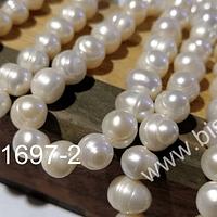 Perla de río redondeada de 8 mm aprox, tira de 45 a 47 perlas aprox.