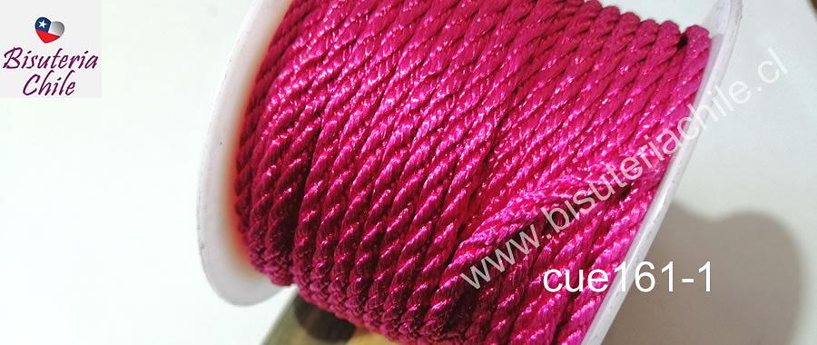 Hilo trenzado 3 mm en color fucsia, rollo de 23 metros