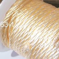 Hilo trenzado 3 mm en color amarillo crema, rollo de 23 metros