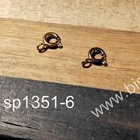 Cierre acero dorado, 5 mm, set de 2 unidades