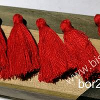 Borla chica rojo, 40 mm de largo, set de 5 unidades