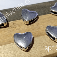 Separador plateado en forma de corazón, 13 x 13 mm, 4 mm de ancho, agujero de 11 x 2 mm, set de 5 unidades