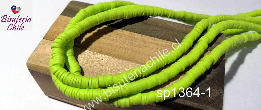 Tira de cuentas de goma, en verde limón, 4 mm de diámetro, tira de 40 cm de largo aprox