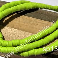 Tira de cuentas de goma, en verde limón, 6 mm de diámetro, tira de 40 cm de largo aprox