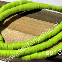 Fimo Tira de cuentas de goma, en verde limón, 4 mm de diámetro, tira de 40 cm de largo aprox