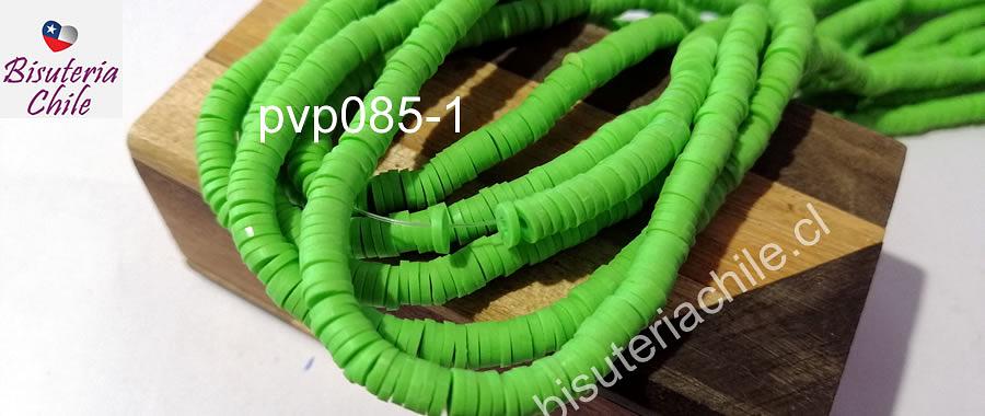 Tira de cuentas de goma, color verde manzana 6 mm de diámetro, tira de 40 cm de largo aprox