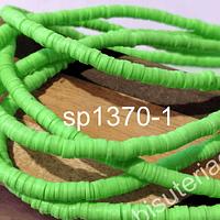 Fimo Tira de cuentas de goma, color verde manzana, 4 mm de diámetro, tira de 40 cm de largo aprox