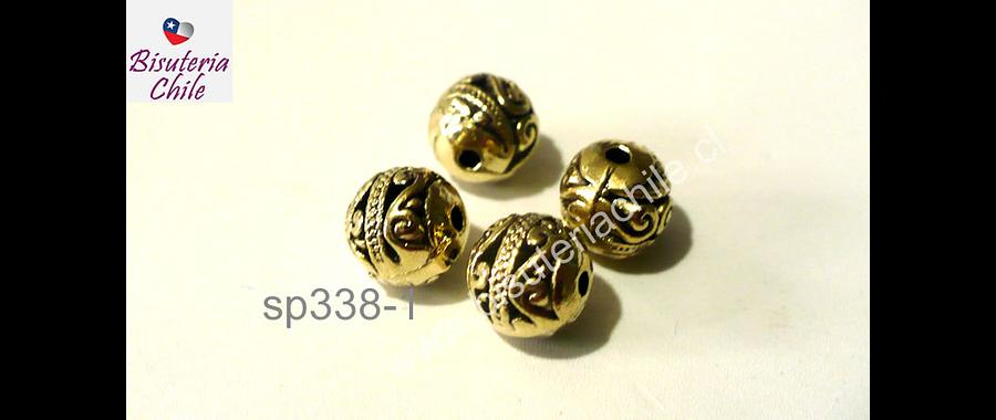 Separador dorado redondo con diseño, 8 mm, set de 4 unidades -