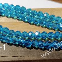 cristal redondo facetado celeste de 6 mm, tira de 50 cristales aprox