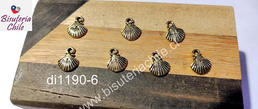 Dije dorado en forma de concha, 10 x 9 mm, set de 7 unidades