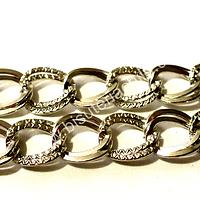 Cadenas, cadena plateada plana doble, eslabón de 10 mm de largo por 9 mm de ancho, por metro