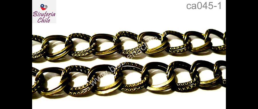 Cadenas, cadena envejecida plana doble, eslabón de 10 mm de largo por 9 mm de ancho, por metro