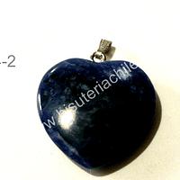 Dije corazón sodalita, 25 mm de largo por 26 mm de ancho, con valier, venta por unidad