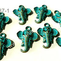 Dije envejecido elefante turquesa, 17 mm de largo por 16 mm de ancho, set de 8 unidades