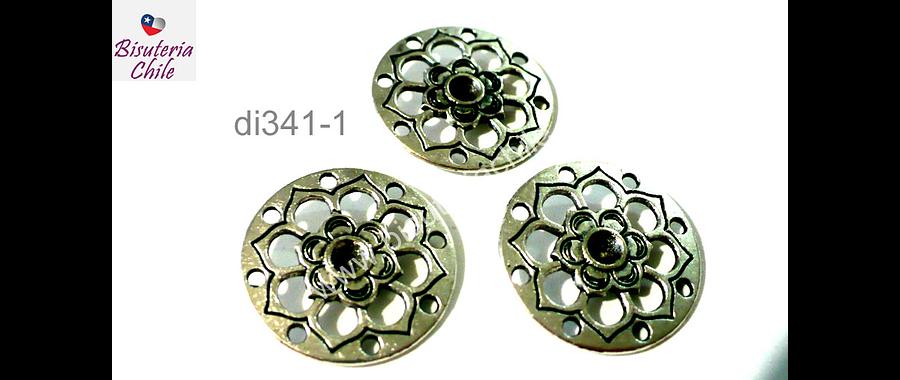 Dije plateado con diseño flor, 22mm de diámetro, set de 3 unidades