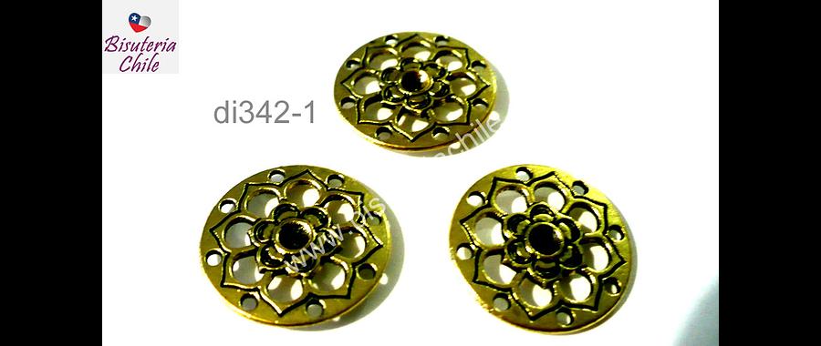 Dije dorado con diseño flor, 22mm de diámetro, set de 3 unidades
