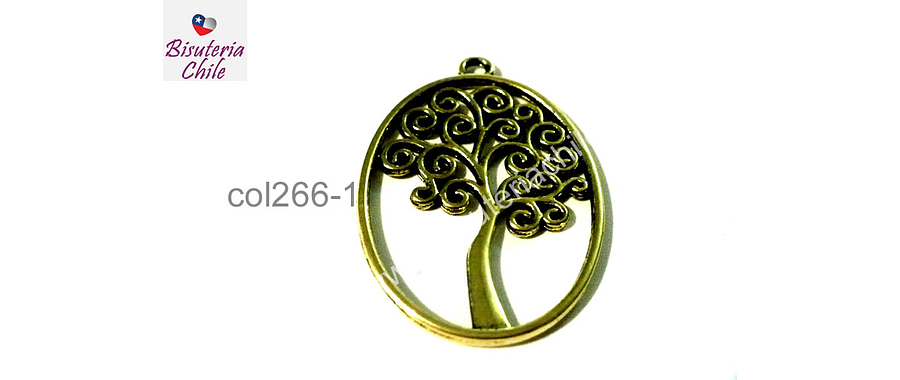 Colgante árbol de la vida dorado, 36 mm de largo por 27 mm de ancho, por unidad