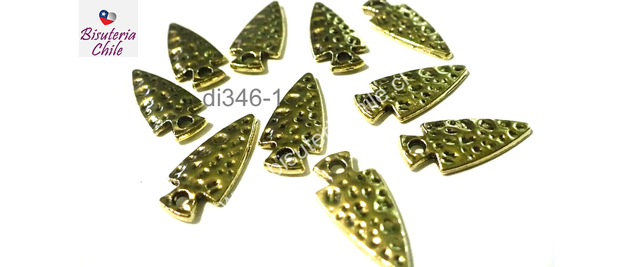 Dije dorado en forma de fecha, 20 mm de largo por 10 mm de ancho, set de 10 unidades