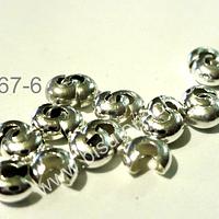 Tapanudo caracol plateado, 4 mm set de 20 unidades