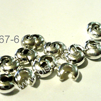 Tapa nudo, Tapanudo caracol plateado, 4 mm set de 2 grs, 20 unidades 20 unidades aprox