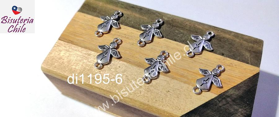 Dije ángel doble conexión, 19 x 12 mm, set de 6 unidades