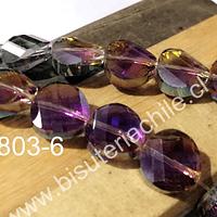 Cristal facetado de 12 mm x 4 mm de ancho, tornasol con brillos fucsia, set de 10 unidades