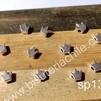 Separador plateado en forma de corona, 5 x 5 mm, agujero de 1,5 mm, set de 13 unidades