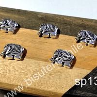 Separador plateadoo en forma de elefante, 12 mm x 9 mm, agujero de 1,4mm, set de 5 unidades