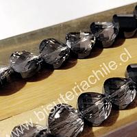 Cristal facetado de 12 mm x 4 mm de ancho, gris , set de 10 unidades