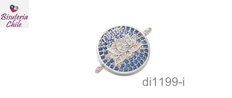 Dije flor de loto, plateado, doble conexión Zirconia Micro Pavé, excelente calidad, 13 mm.
