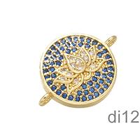 Dije flor de loto, dorado, doble conexión Zirconia Micro Pavé, excelente calidad, 13 mm.