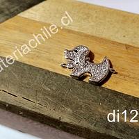 Dije perrito doble conexión zirconita micro pavé alta calidad, en color plateado, 21 x 13 mm, por unidad (no incluye la cadena)
