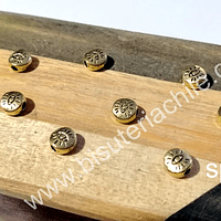 Separador dorado diseño ojo de orus, 6 mm, agujero de 1,3 mm, set de 8 unidades