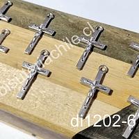Dije plateado en forma de cruz, 25 x 12 mm, set de 8 unidades