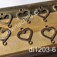 Dije dorado corazón doble conexión, 20 x 16 mm, set de 8 unidades