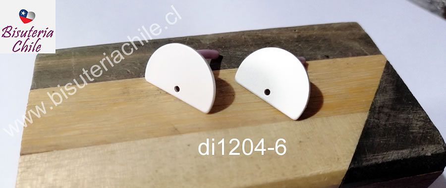 Base de aro baño de plata, color opaco, 20 x 13 mm, por par