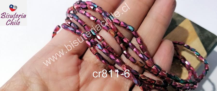 Cristal facetado color fucsia tornasol metalizado, especial excelente calidad, 4 x 2 mm, set de 98 cristales aprox.