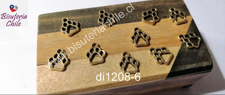 Dije dorado en forma de pata de perro, 13 x 11 mm, set de 10 unidades