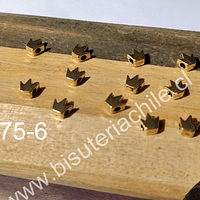 Separador dorado en forma de corona, 5 x 5 mm, agujero de 1,5 mm, set de 13 unidades