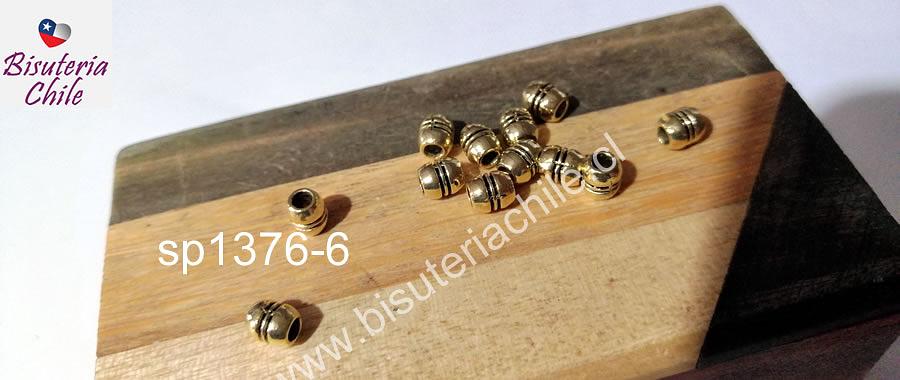 Separador dorado, 6 x 3 mm, agujero de 2 mm, set de 12 unidades