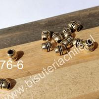 Separador dorado, 6 x 3 mm, agujero de 2 mm, set de 13 unidades