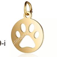 Dije acero dorado patita de perro, 12 mm de diámetro por unidad