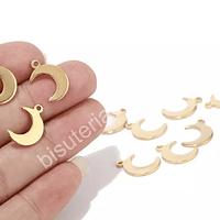 Dije acero dorado en forma de Luna, 10 x 9 mm, por unidad