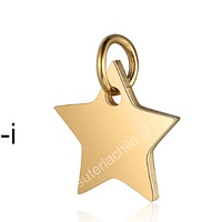 Dije acero dorado en forma de estrella, 12 mm, por unidad