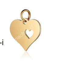 Dije acero dorado corazón, 13 mm, por unidad