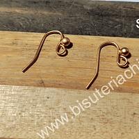 Gancho de aro baño de oro, 15 mm, por par
