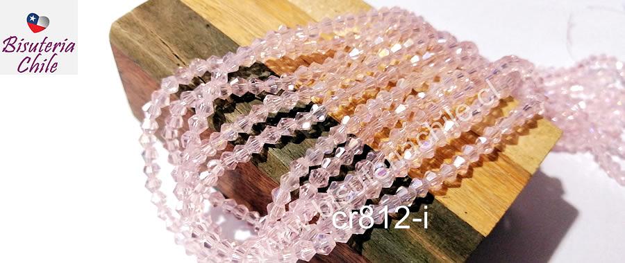 Cristal tupi 4 mm, color rosado, tira de 75 cristales