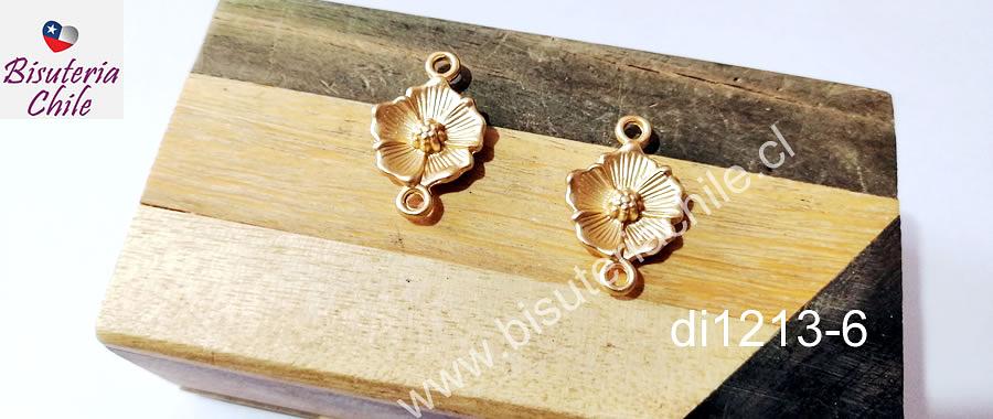 Dije doble conexión baño de oro, en forma de flor, 24 x 15 mm, set de 2 unidades