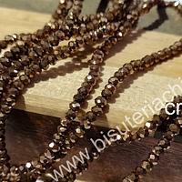 Cristal facetado dorado oscuro de 2 x 2 mm, tira de 190 cristales